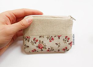 Peňaženky - Mini peňaženka s ružičkami - 9640396_