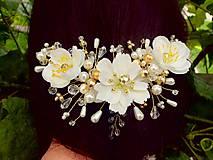 Ozdoby do vlasov - svadobná ozdoba do vlasov alebo náhrdelník - Ivory + zlatá - 9640387_