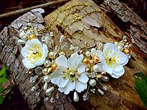 Ozdoby do vlasov - svadobná ozdoba do vlasov alebo náhrdelník - Ivory + zlatá - 9640392_