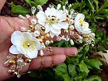 Ozdoby do vlasov - svadobná ozdoba do vlasov alebo náhrdelník - Ivory + zlatá - 9640393_