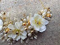 Ozdoby do vlasov - svadobná ozdoba do vlasov alebo náhrdelník - Ivory + zlatá - 9640394_