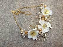 Ozdoby do vlasov - svadobná ozdoba do vlasov alebo náhrdelník - Ivory + zlatá - 9640398_