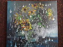 Obrazy - Kvety a daždivý deň - 9640713_