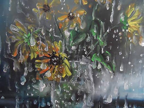 Kvety a daždivý deň
