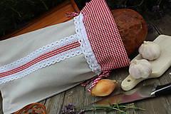 Vrecko na chlieb-čipkované karo