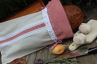 Úžitkový textil - Vrecko na chlieb-čipkované karo - 9640805_
