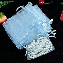 Obalový materiál - VO101 Organzové vrecúško 7 x 9 cm (bledo modré) - 9640705_
