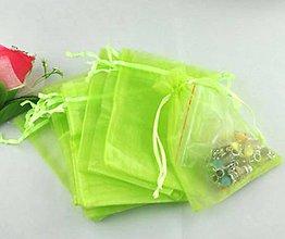 Obalový materiál - VO101 Organzové vrecúško 7 x 9 cm (krikľavo zelené) - 9640735_