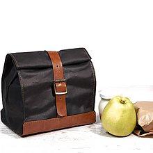 Iné tašky - Lunchbag. Taška na jedlo z voskovaného plátna a kože.  (s rukoväťou) - 9641278_