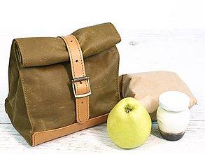 Iné tašky - Lunchbag. Olivová taška na jedlo - 9641351_