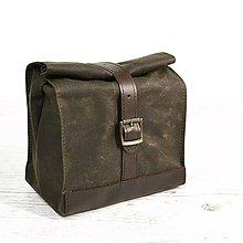 Iné tašky - Lunchbag. Tmavo-olivová taška na jedlo - 9641404_