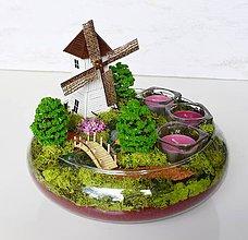 Dekorácie - Svietnik-Krajinka v sklenenej mise: Veterný mlyn - 9641128_