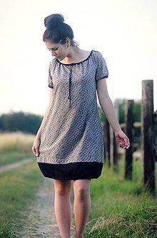 Šaty - Béžová a černá - 9641543_