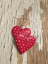 Náušnice - veľké maľované bodkované srdcia - 9640352_