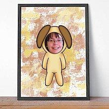 Dekorácie - Zvierací kostým - psíček a fľakaté pozadie (grafika) - 9639889_