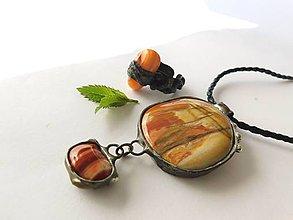 Sady šperkov - Set- prívesok a prsteň: farebný achát, skamenené drevo - 9643573_
