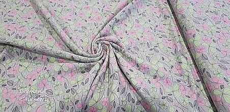 Textil - Úplet - Kvietky - cena za 10 cm - 9644857_