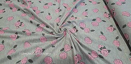 Textil - Úplet - Ruže- cena za 10 cm - 9644874_