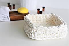 Košíky - Košíček štvorcový CREAMY WHITE - 9643326_