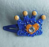 Detské doplnky - spona korunka modrá - 9642094_