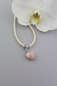 Náhrdelníky - Pravé perly a ruženín náhrdelník.. - 9642101_