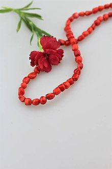 Minerály - červený koral korálky - nugety - 9643302_