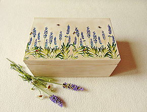 Krabičky - Drevená krabička Levanduľa - 9642896_