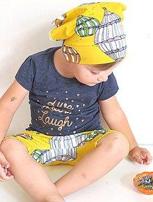 Detské doplnky - šatka z biobavlny Do oblakov! (žltá) - 9645002_
