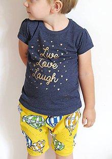 Detské oblečenie - kraťasy z biobavlny Do oblakov! (žlté) - 9645012_
