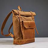Batohy - Žltý mestský batoh z kože a voskovaného plátna. Letný ruksak - 9643052_