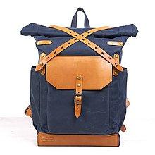 Batohy - Modrý/ryšavý mestský batoh z kože a voskovaného plátna. - 9642949_