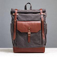 Batohy - Šedohnedý mestský batoh z kože a voskovaného plátna. - 9643221_