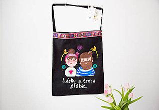 Nákupné tašky - Taška - Lásku si treba (s)ľúbiť - 9643401_