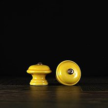 Nábytok - Úchytka - knopka žlutá - vzor č. 3 malá - 9644098_