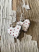 Náušnice - bodkované srdiečka (červené bodky) - 9643369_