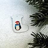 Dekorácie - Zvieracie vianočné ozdoby čižmička - tučniak - 9642117_