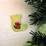 Dekorácie - Zvieracie vianočné ozdoby čižmička - medvedík čistotný - 9642551_