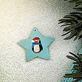 Dekorácie - Zvieracie vianočné ozdoby hviezdička - tučniačik - 9643912_