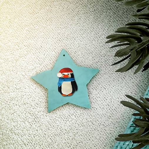 Zvieracie vianočné ozdoby hviezdička - tučniačik