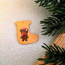 Dekorácie - Zvieracie vianočné ozdoby (čižmička - macko) - 9642647_