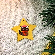 Dekorácie - Zvieracie vianočné ozdoby hviezdička - mýval - 9644255_