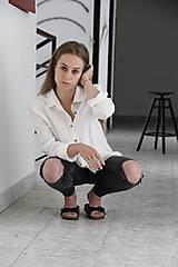 Košele - Simonka ľanová košeľa biela - 9648653_