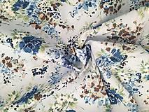 Textil - Bavlnený popelín - Blue Flowers - 9647327_