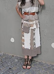 Sukne - kapucíno, etno -vlnená sukňa - 9646242_