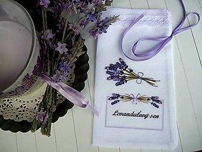 Úžitkový textil - Vrecúška na levanduľu so slovenským textom - 9645689_