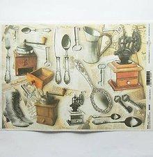 Papier - Ryžový papier na decoupage -A4-R349 - kuchyňa, príbor, kľúč - 9646374_