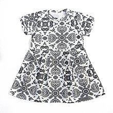 Detské oblečenie - Šaty - Grey Folk Ornament krátky rukáv - 9645794_