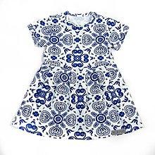 Detské oblečenie - Šaty - Blue Folk Ornament krátky rukáv - 9645797_
