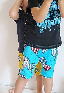 Detské oblečenie - kraťasy z biobavlny Do oblakov! (tyrkysové) - 9645023_