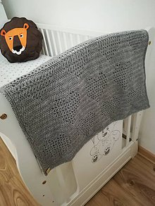 Textil - Háčkovaná deka so srdiečkami - 9645233_